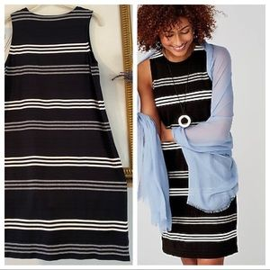 J Jill Wide Stripe Stretchy Shift Dress Midi Comfy
